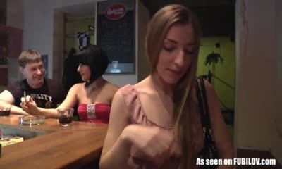 Girl lets the customer of the bar finger her