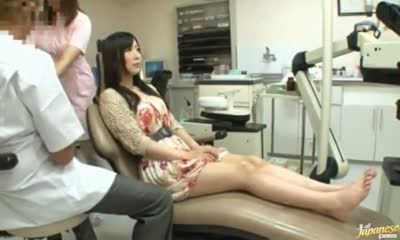 Hottie gets fucked by a dentist and his sexy assistant