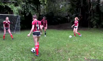 Girls player sex with homemade soccer